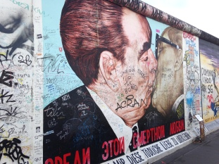 The famous Kiss at East Side Gallery