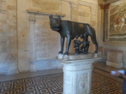Iconic Capitoline Wolf suckling twin human infants at Musei Capitolini